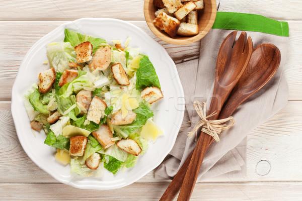 ストックフォト: 新鮮な · 健康 · シーザーサラダ · 木製のテーブル · 先頭 · 表示