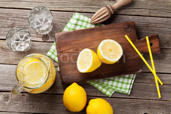 Limonade citroen ijs tuin tabel top Stockfoto © karandaev