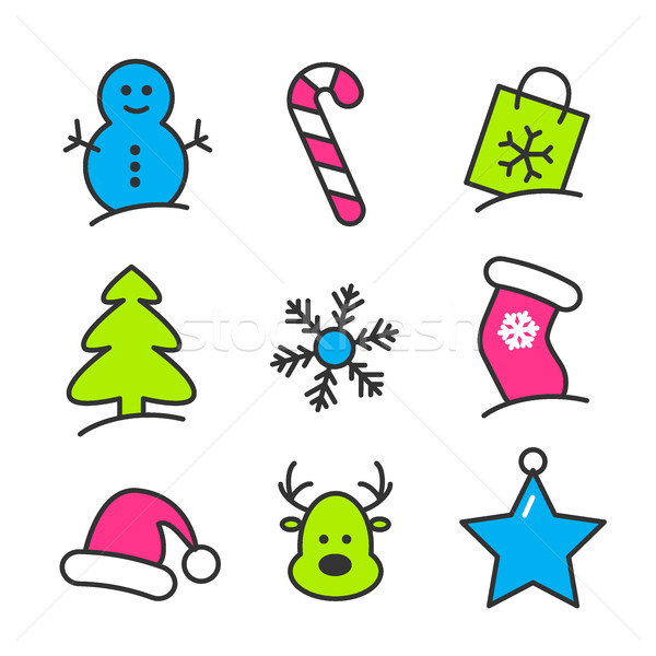 Christmas icon set Stock photo © karandaev