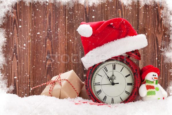 クリスマス ギフトボックス 雪だるま 目覚まし時計 おもちゃ 雪 ストックフォト © karandaev