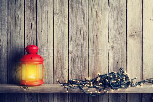 Christmas candle lantern, xmas lights Stock photo © karandaev