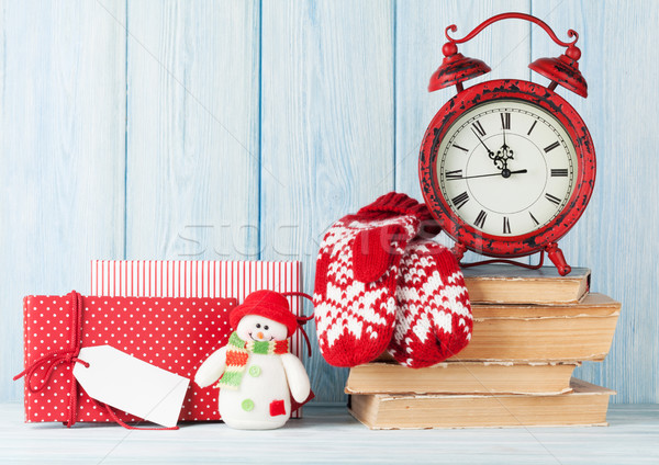 Christmas alarm clock, gifts and mittens Stock photo © karandaev