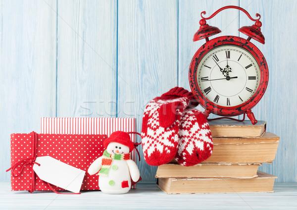 Natale sveglia regali muffole view Foto d'archivio © karandaev