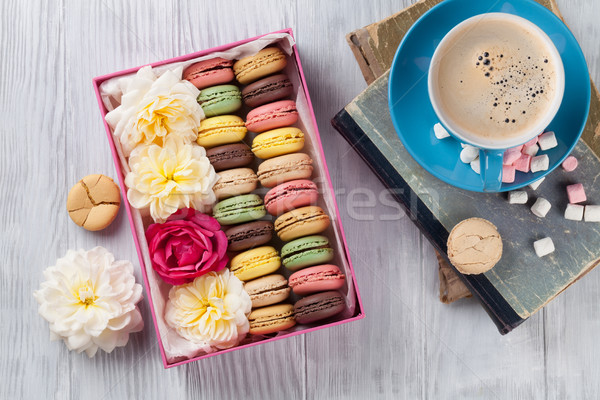 Colorful macaroons, coffee. Sweet macarons Stock photo © karandaev