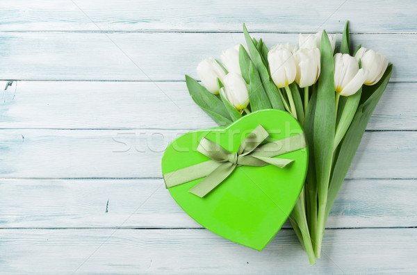 White tulips and gift box Stock photo © karandaev