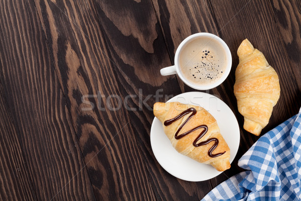 Fresh croissants and coffee Stock photo © karandaev