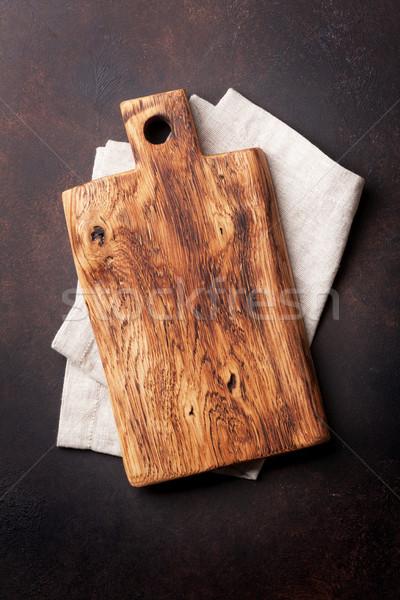 Tabla de cortar toalla piedra mesa de cocina superior vista Foto stock © karandaev