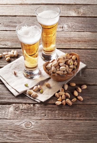 Сток-фото: пива · очки · деревянный · стол · древесины