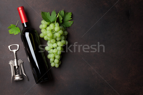 Wine bottle and grapes Stock photo © karandaev