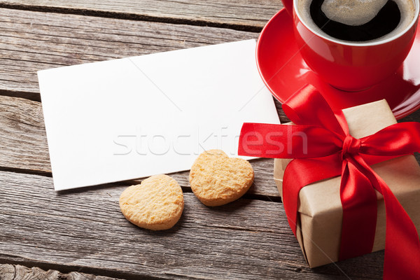 Valentines day greeting card, coffee cup and gift box Stock photo © karandaev