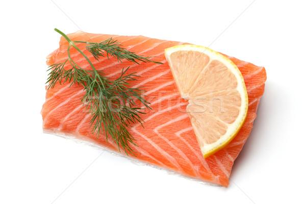 Fresh salmon steak with lemon slice and dill Stock photo © karandaev