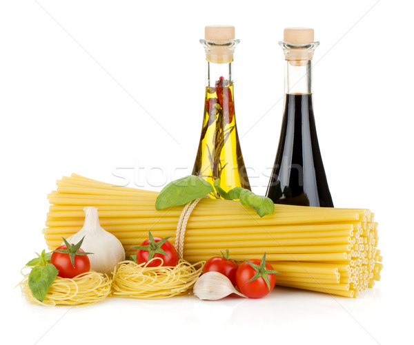 Pasta, tomatoes, basil, olive oil, vinegar and garlic Stock photo © karandaev