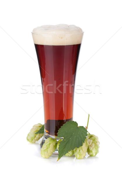 Dark beer cup and hop branch Stock photo © karandaev