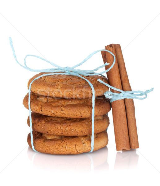 ストックフォト: 自家製 · クッキー · シナモン · 孤立した · 白 · 背景