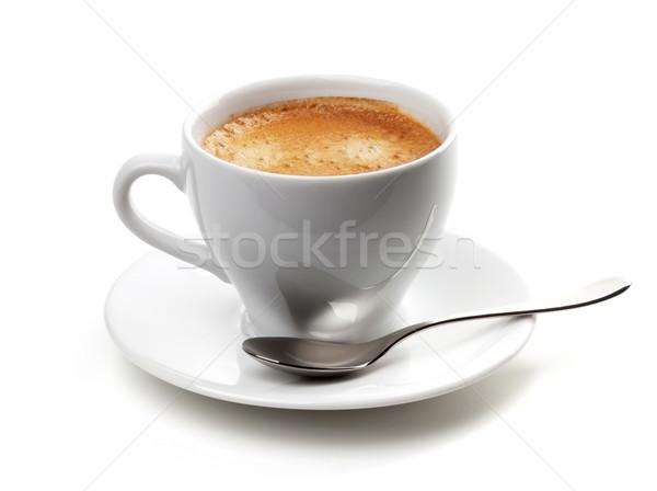 Cappucchino csésze ezüst kanál izolált fehér Stock fotó © karandaev
