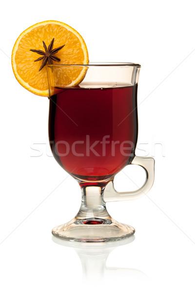 Hot mulled wine with orange slice and anise Stock photo © karandaev