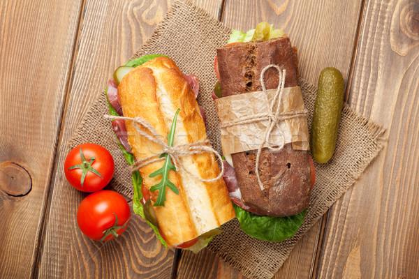 Stockfoto: Twee · sandwiches · salade · ham · kaas · tomaten