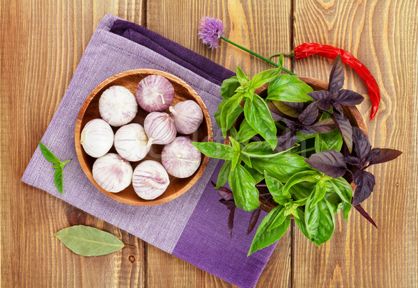 Fresh farmers basil and spices Stock photo © karandaev