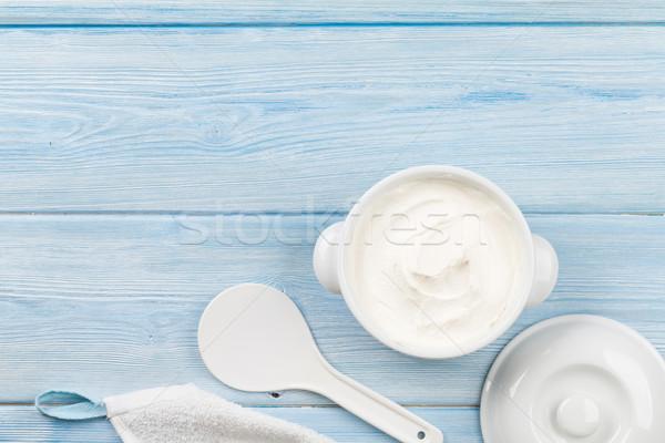 Sour cream in a bowl Stock photo © karandaev
