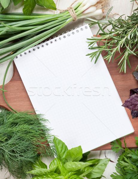 ストックフォト: 新鮮な · 庭園 · ハーブ · 帳 · レシピ · レシピ