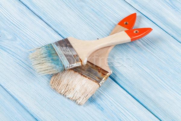 Stockfoto: Penseel · Blauw · hout · top · textuur