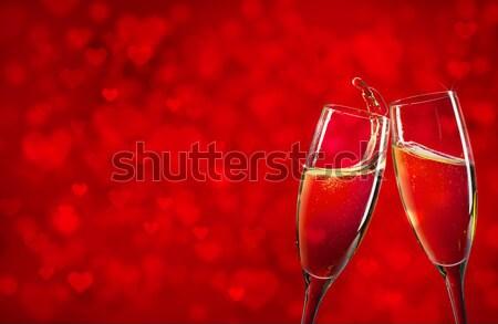 Stok fotoğraf: Iki · şampanya · gözlük · kırmızı · Noel · kar