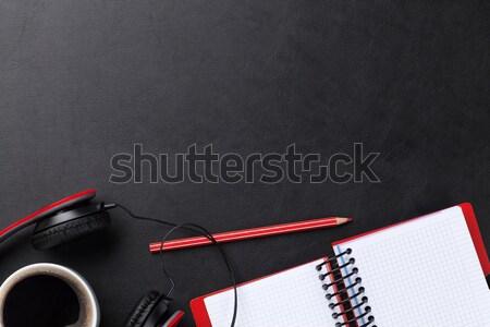 Biurko notatnika kawy słuchawki biuro skóry Zdjęcia stock © karandaev