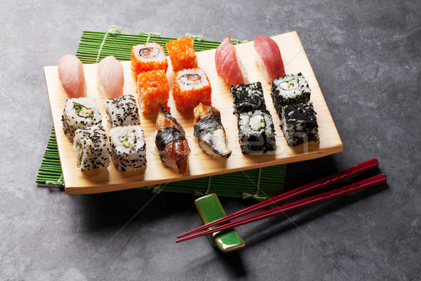 Set of sushi and maki roll Stock photo © karandaev