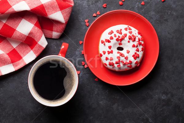 Donut koffie steen tabel top Stockfoto © karandaev