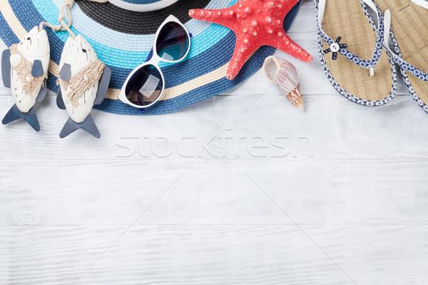 ストックフォト: ビーチ · 帽子 · ヒトデ · 木製