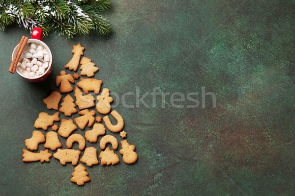 Рождества горячий шоколад пряничный Cookies рождество Top Сток-фото © karandaev