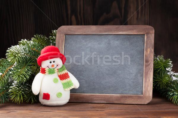 クリスマス 黒板 雪だるま ツリー 表示 ストックフォト © karandaev