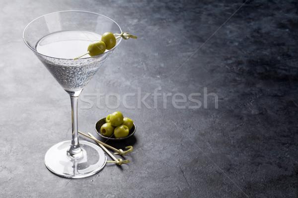 Martini cóctel oscuro piedra mesa espacio Foto stock © karandaev