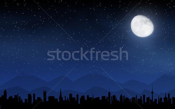 スカイライン 深い 夜空 多くの 星 月 ストックフォト © karandaev