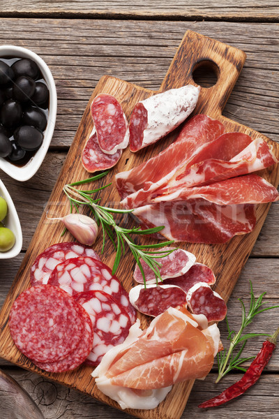 Salame presunto salsicha prosciutto bacon Foto stock © karandaev
