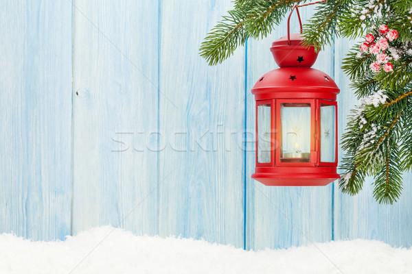 Christmas candle lantern on fir tree Stock photo © karandaev