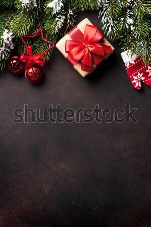 Stock fotó: Karácsony · hó · fenyőfa · dekoráció · felső · kilátás