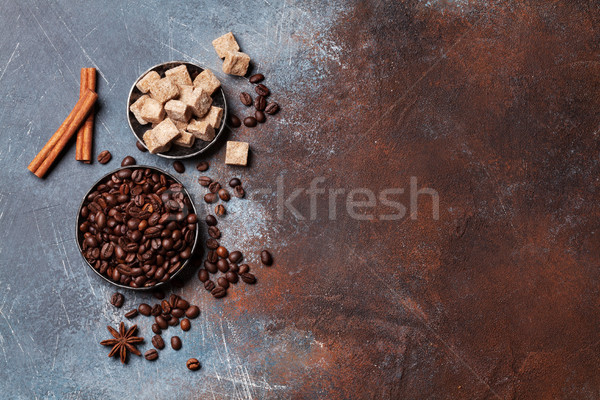 Stockfoto: Koffiebonen · suiker · specerijen · top · ruimte