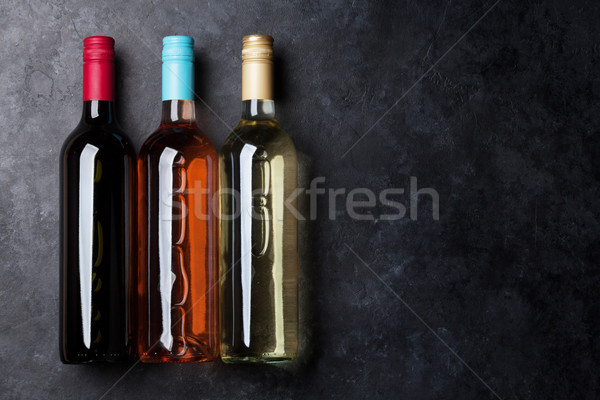 Rose Red vino bianco bottiglie top view spazio Foto d'archivio © karandaev