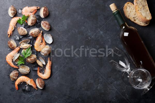 新鮮な シーフード 白ワイン 石 表 カキ ストックフォト © karandaev