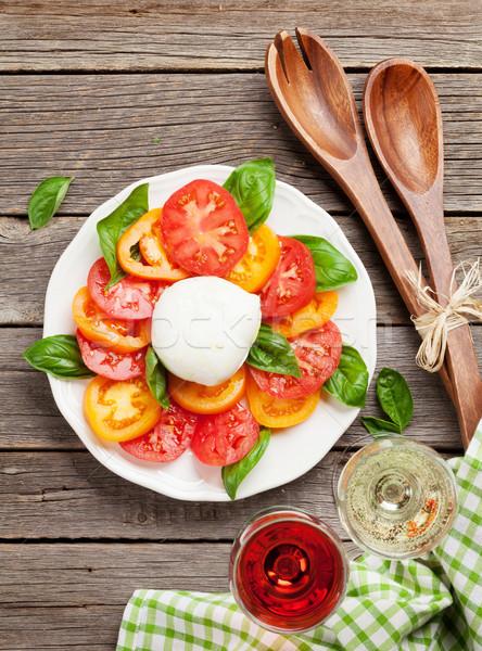カプレーゼサラダ バラ 白ワイン トマト バジル ストックフォト © karandaev