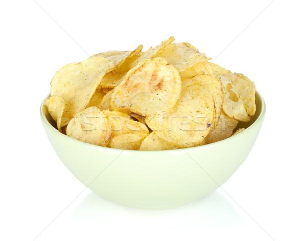 Foto stock: Batatas · fritas · tigela · isolado · branco · comida · fundo