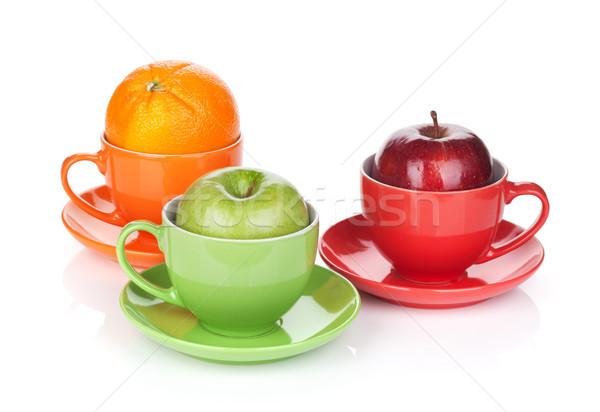 Jabłko pomarańczy herbaty odizolowany biały żywności Zdjęcia stock © karandaev