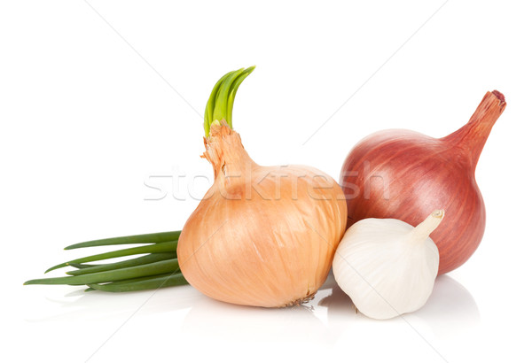 Fresh ripe onion and garlic Stock photo © karandaev