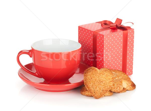 Stok fotoğraf: Kırmızı · kahve · fincanı · kalp · kurabiye · hediye · kutusu