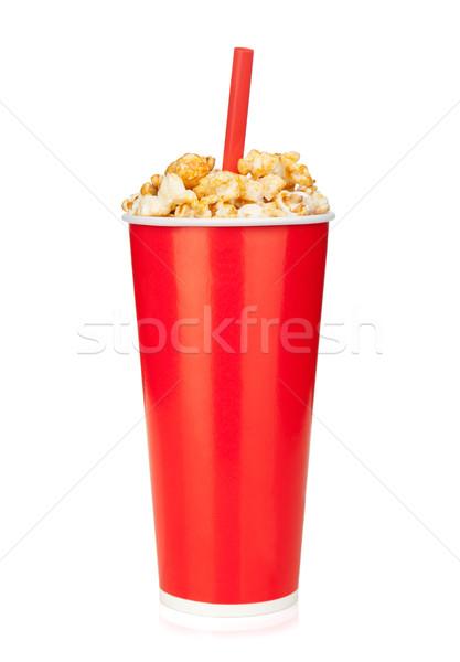 Foto stock: Pipoca · fast-food · beber · copo · isolado · branco