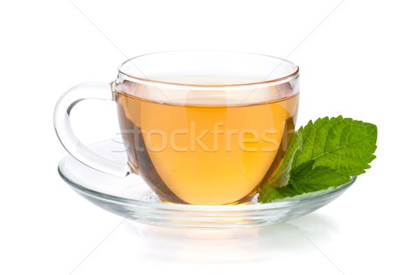 Taza té menta hojas aislado blanco Foto stock © karandaev
