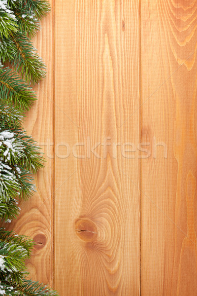 Wood texture with snow firtree christmas background Stock photo © karandaev
