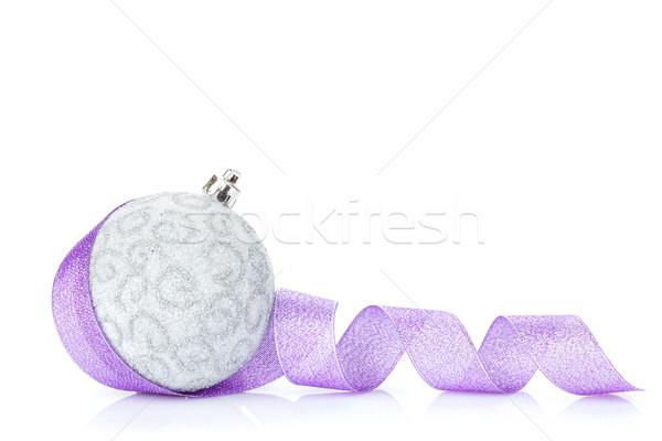 Natal bugiganga roxo fita isolado branco Foto stock © karandaev