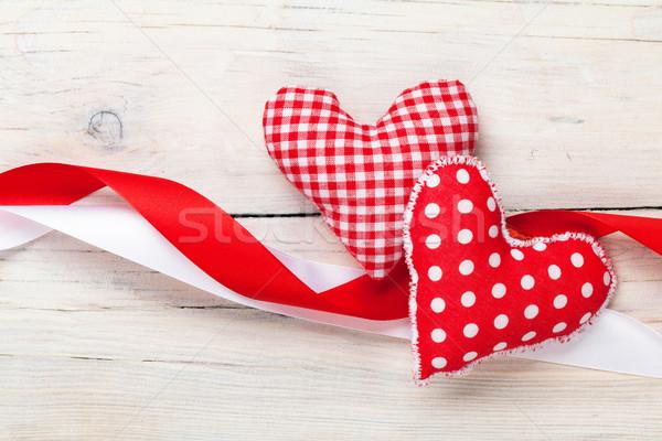 Valentines day background with handmade toy hearts Stock photo © karandaev